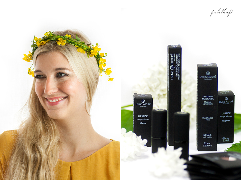 Living Nature Make-up Tutorial Frühlingsmakeup sommerlich gelb butterblumen fein und fabelhaft Eyeshadow Lipstick yellow dress kleid