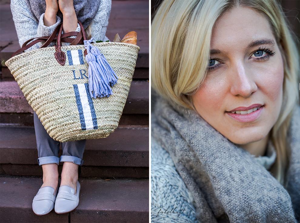 lieblingsstueck-germany-fein-und-fabelhaft-monogram-basket-bastkorb-herbst-outfit-kuschel-pullover-grau-slipper-loafer
