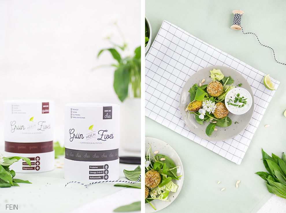 Falafel Frühlingssalat Bärlauch Dip