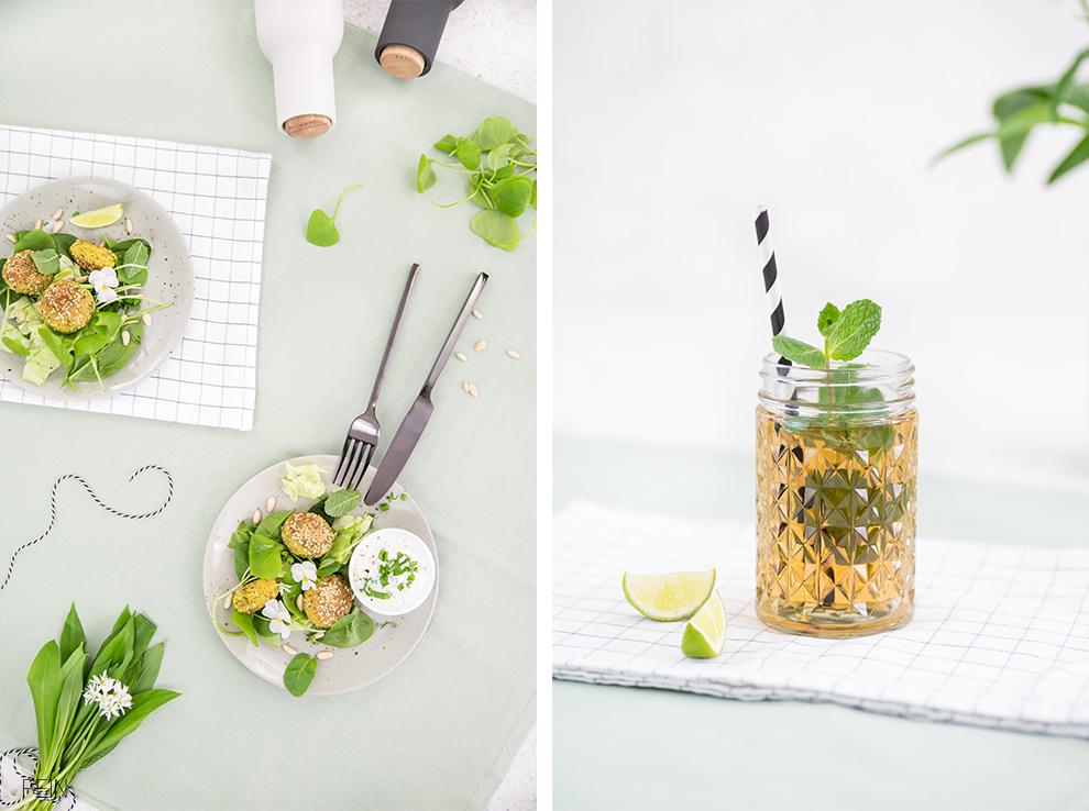 Falafel Salat Grün hoch zwei Frühling