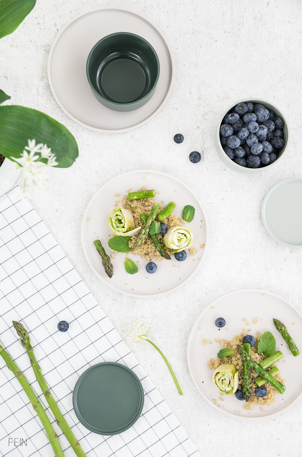 Spargel grün Bärlauch Quinoa Salat