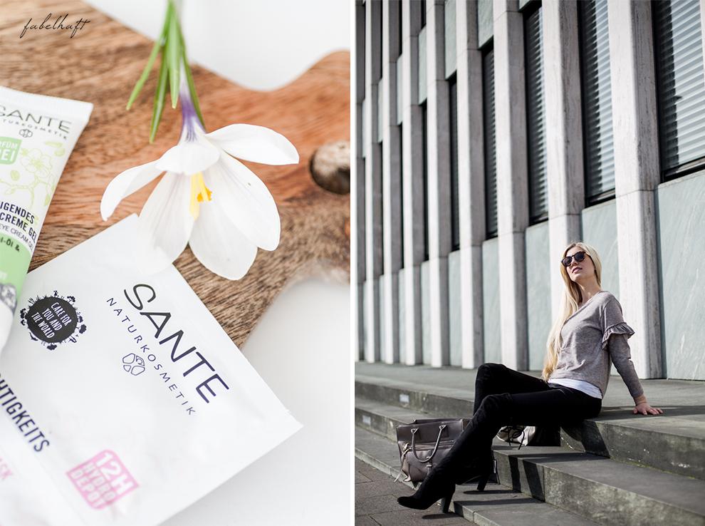 Vivaness Logona Naturkosmetik Santé Blogger Fashion Frühling Outfit Mode Trend Volants Overknees Blond