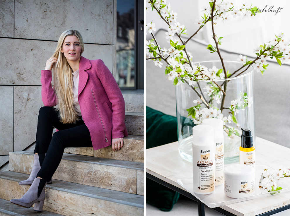Basler Arganöl Shampooo Haarpflege Haircare Ostern Outfit Frühling Rosa Stiefeletten High trashed Trend 2