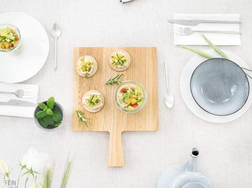 Snacks Sommertisch Tischdeko Sommerlich