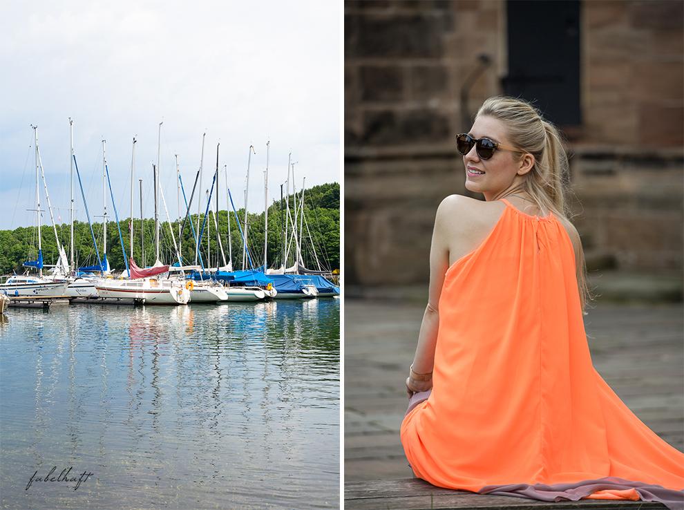 Hochsommer Trend Kleid Sommerkleid Sonnig august Marina Yacht hafen