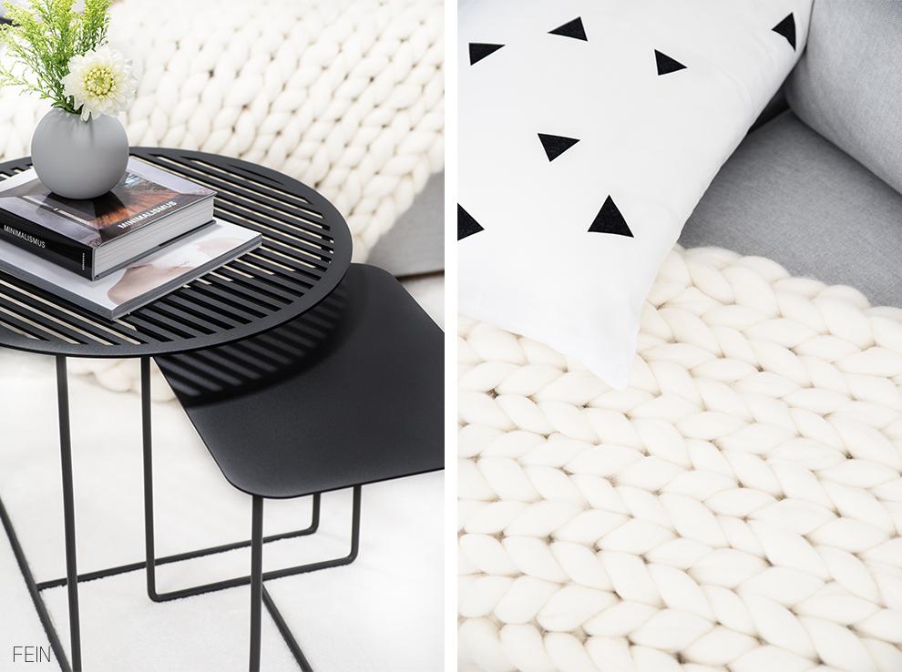 chunky knit decke Wohnzimmer Scandinavisch