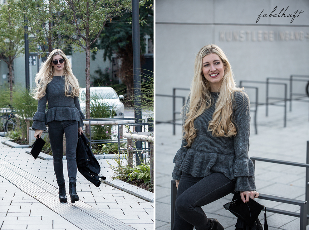 Volants Herbst Pullover Strick Cunky Jeans Grau Herbstoutfit Trend 2017 Rüschen Ruffle Steampunk Blond Beachhair Loose Waves 4