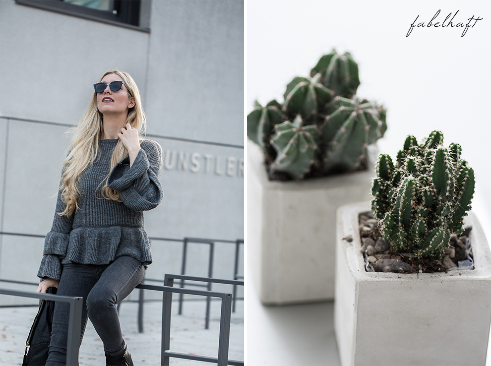 Volants Herbst Pullover Strick Cunky Jeans Grau Herbstoutfit Trend 2017 Rüschen Ruffle Steampunk Blond Beachhair Loose Waves