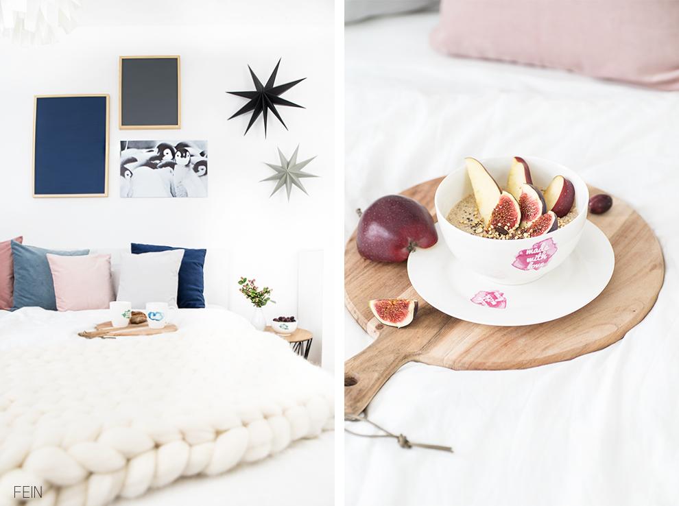 Winter Schlafzimmer Fruehstueck Bett