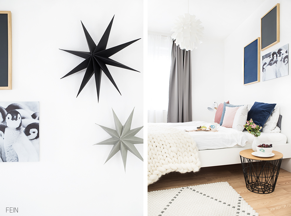Winter Schlafzimmer Styling pastell