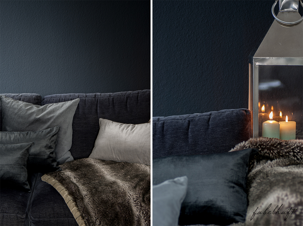 Dark Mood Interior Einrichtung Wohnzimmer dunkel Grau Herbst Winter Samt Trend Deko Gemütlich 3