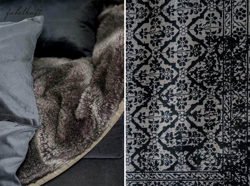 Dark Mood Interior Einrichtung Wohnzimmer dunkel Grau Herbst Winter Samt Trend Deko Gemütlich 5