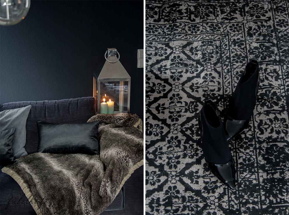 Dark Mood Interior Einrichtung Wohnzimmer dunkel Grau Herbst Winter Samt Trend Deko Gemütlich 4