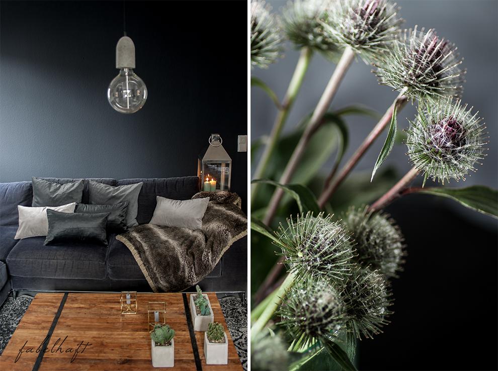 Dark Mood Interior Einrichtung Wohnzimmer dunkel Grau Herbst Winter Samt Trend Deko Gemütlich