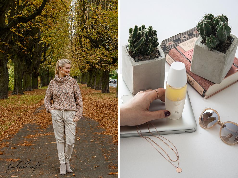 Meinekette Herbst Golden Roségold gemütlich Herbstlaub Talbot Runhof Blond Strick Beige Rollkragen Outfit Trend Mode