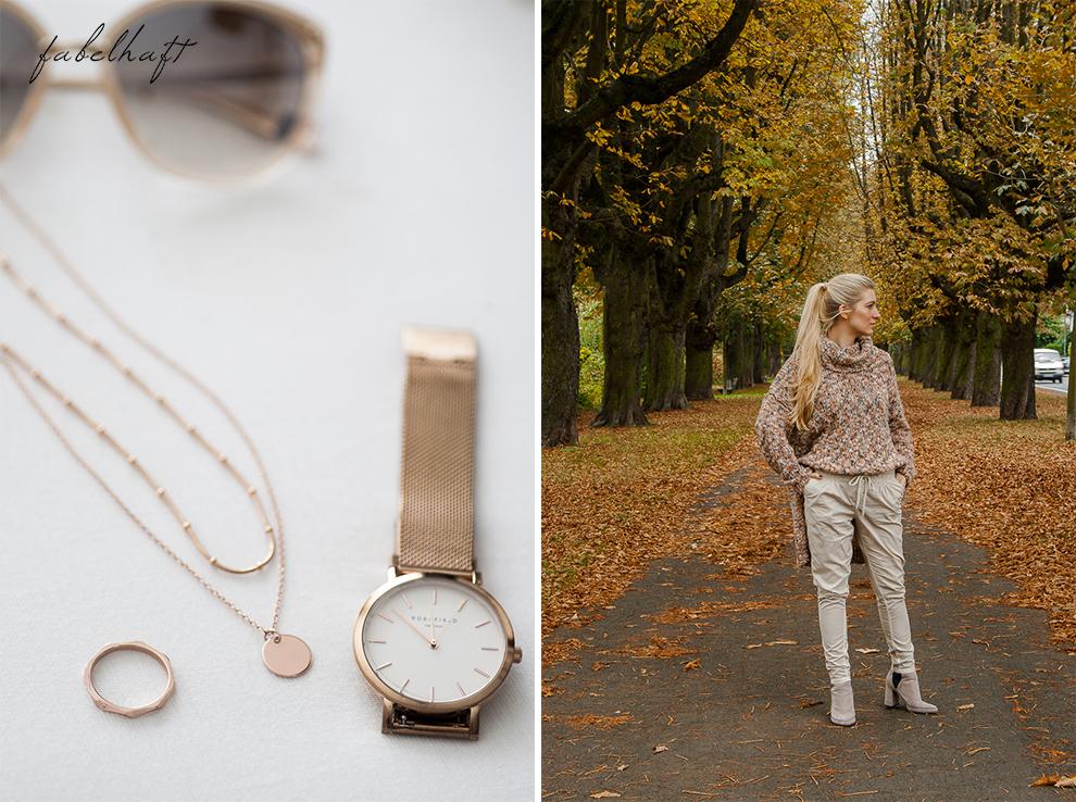 Meinekette Herbst Golden Roségold gemütlich Herbstlaub Talbot Runhof Blond Strick Beige Rollkragen Outfit Trend Mode 4