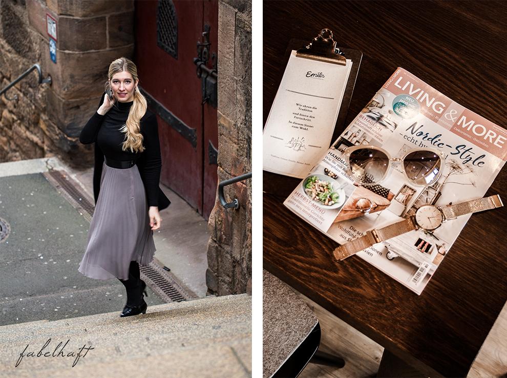 Marburg Restaurant Hotel Emils Bistro Fashion Plisseerock Weihnachten festlich grau Mode Trend