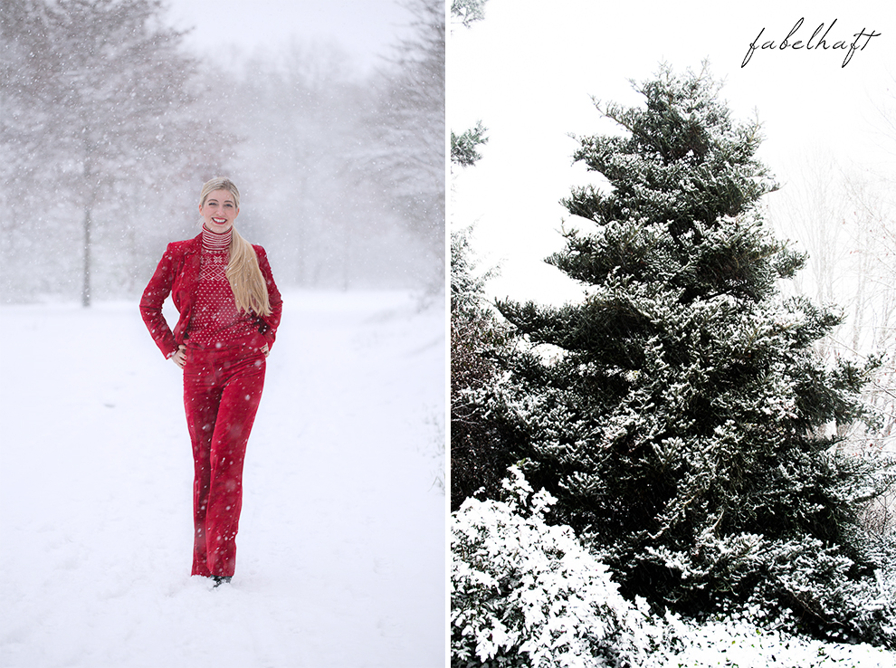 Holiday red rot Weihnachtsoutfit Outfit Samt Weihnachtspullover Christmas Fashion Trend Mode Blond Schnee 2
