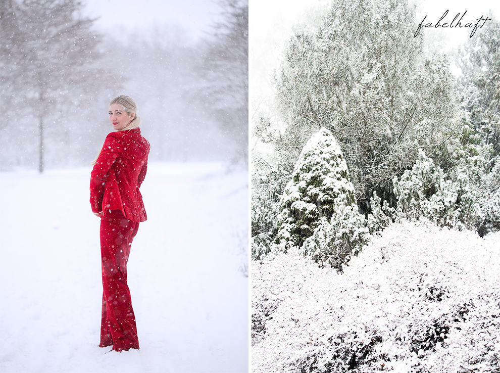 Holiday red rot Weihnachtsoutfit Outfit Samt Weihnachtspullover Christmas Fashion Trend Mode Blond Schnee 3