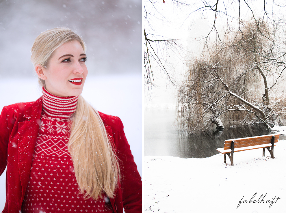 Holiday red rot Weihnachtsoutfit Outfit Samt Weihnachtspullover Christmas Fashion Trend Mode Blond Schnee 4
