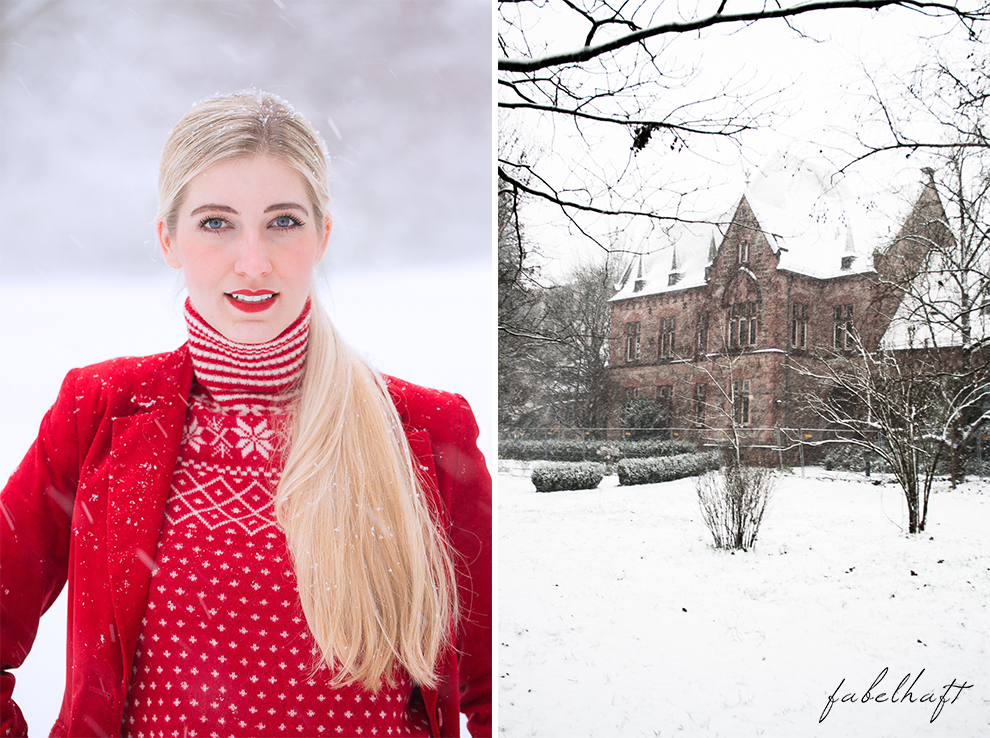 Holiday red rot Weihnachtsoutfit Outfit Samt Weihnachtspullover Christmas Fashion Trend Mode Blond Schnee 5