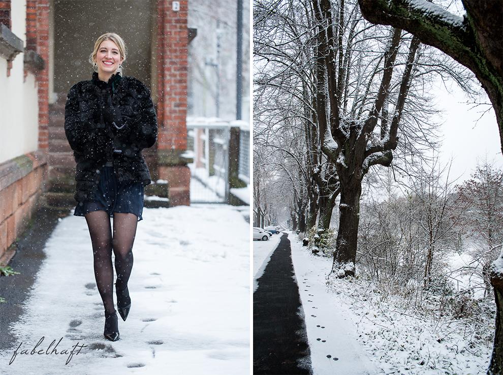 Weihnachten Silvester Outfit Fashion Samt Chiffon Fake Fur Kunstfell Mantel Festlich Inspiration Blogger Schnee Mode Trend 4