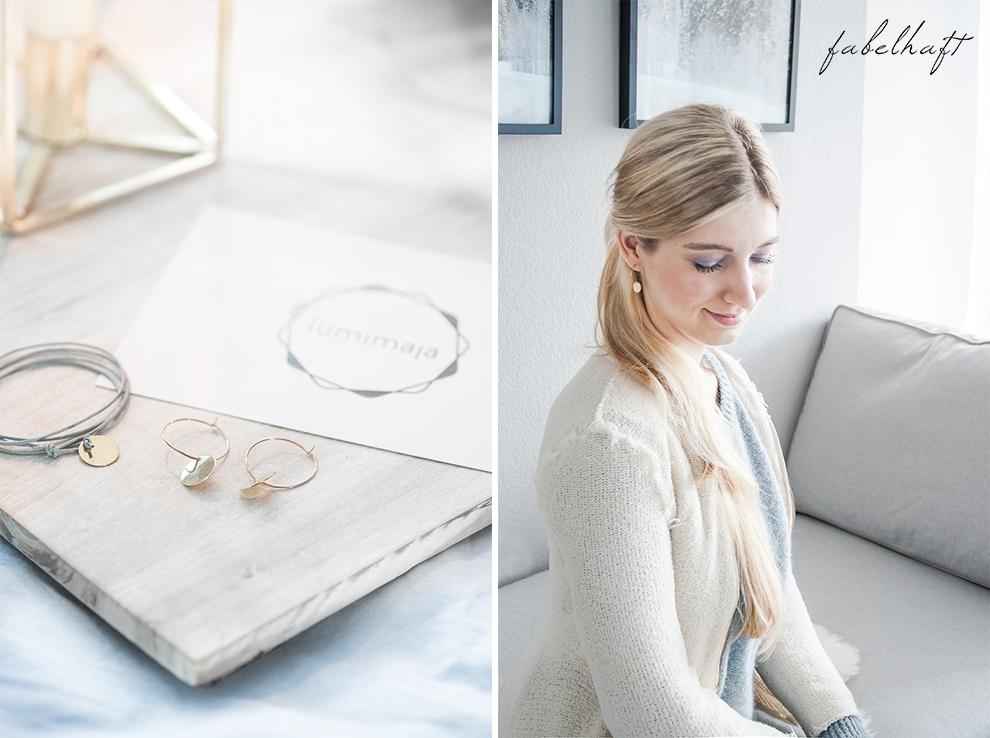 Lumimaja Ohrringe Plättchen Disc Gold Armband Eisblau Januar Winter Schlafzimmer Style Interior Blond Blogger Fashion Trend Mode 3