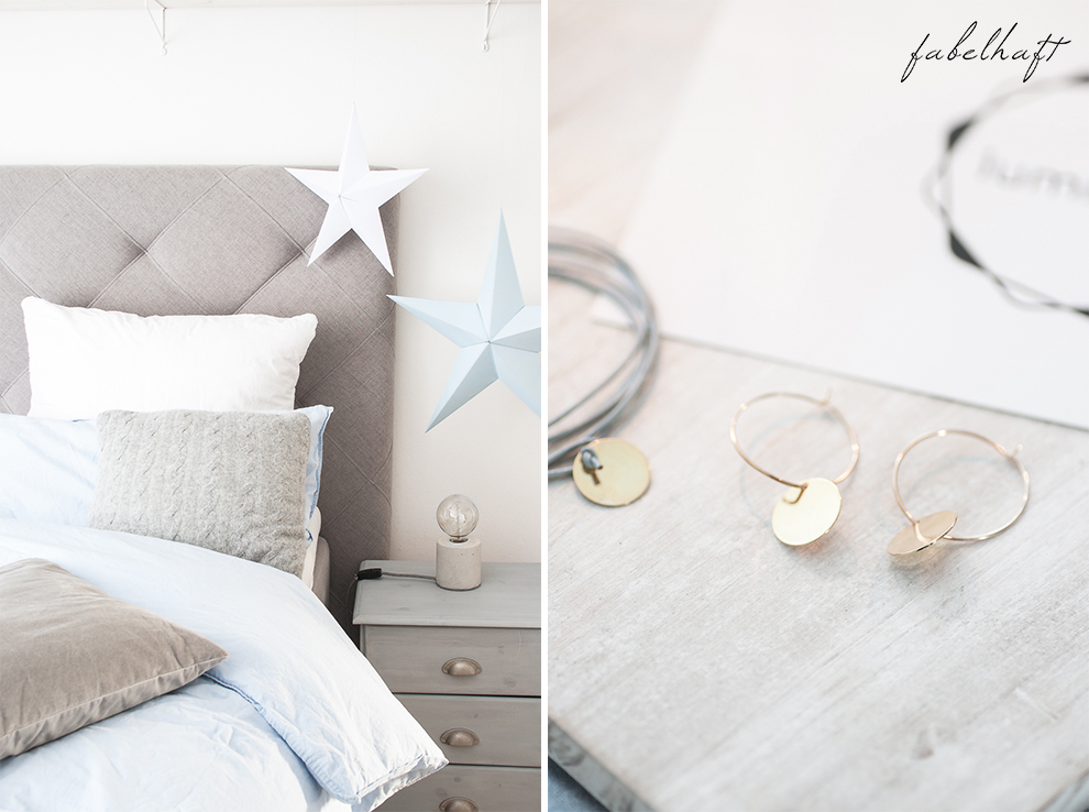 Lumimaja Ohrringe Plättchen Disc Gold Armband Eisblau Januar Winter Schlafzimmer  Style Interior Blond Blogger Fashion Trend