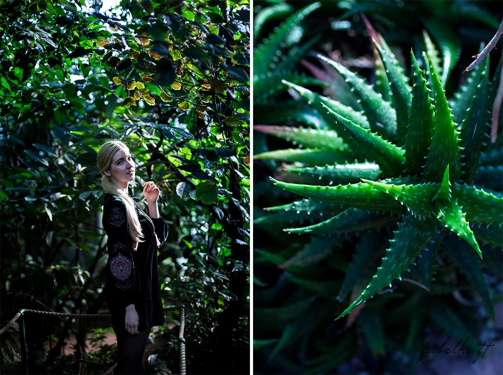 Jungle Trend Samt Bestickt Kleid Grün Tropisch Regenwald botanischer Garten 5