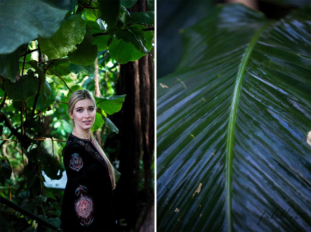 Jungle Trend Samt Bestickt Kleid Grün Tropisch Regenwald botanischer Garten 6