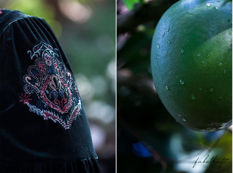 Jungle Trend Samt Bestickt Kleid Grün Tropisch Regenwald botanischer Garten 7