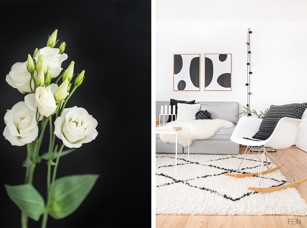 schwarz weiße einrichtung wohnzimmer