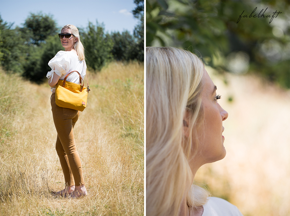 Elaisa Taschen Handtasche Manufaktur Sina Senfgelb Sommer Jeans Highwaist Blond Feld Mode Trend Sonne 2