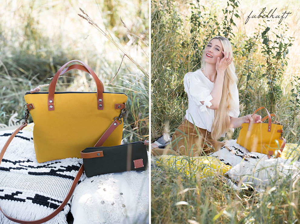 Elaisa Taschen Handtasche Manufaktur Sina Senfgelb Sommer Jeans Highwaist Blond Feld Mode Trend Sonne 3