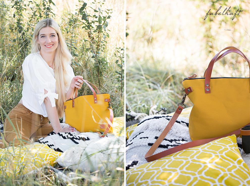 Elaisa Taschen Handtasche Manufaktur Sina Senfgelb Sommer Jeans Highwaist Blond Feld Mode Trend Sonne 4