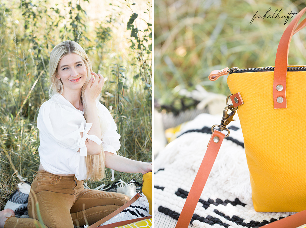 Elaisa Taschen Handtasche Manufaktur Sina Senfgelb Sommer Jeans Highwaist Blond Feld Mode Trend Sonne