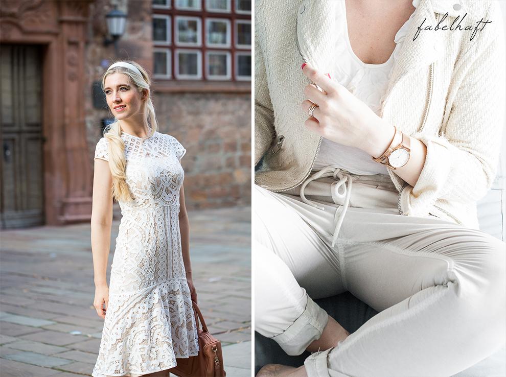 Spitze Kleid Weiß Elegant Fashion Mode Trend Weiß Beige Blond BLogger Fein und Fabelhaft