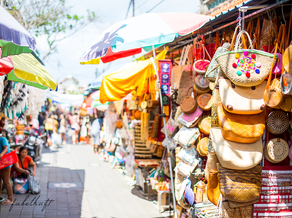 Ubud Bali Markt Korbwaren Stand Tradition Kultur Stadt