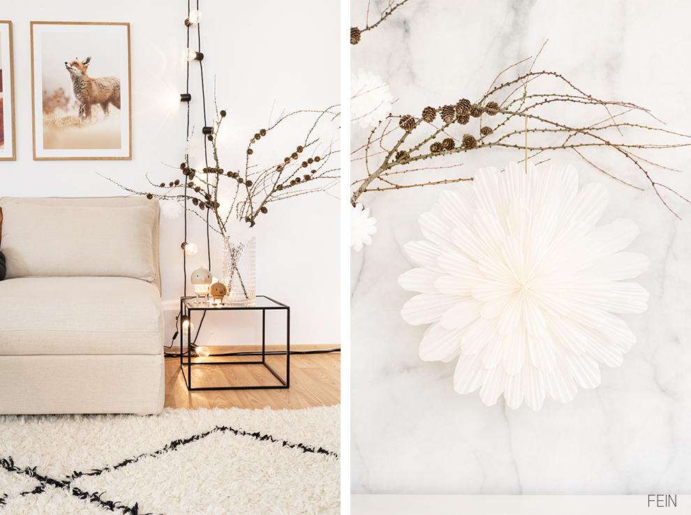 Winter Deko Wohnzimmer DIY
