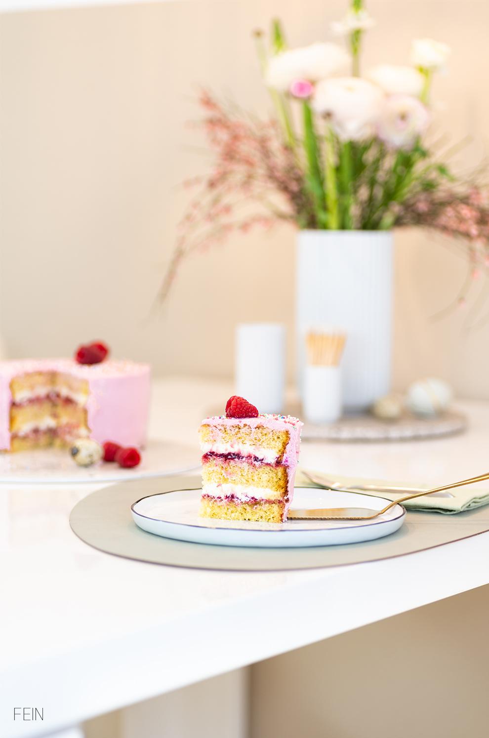 Himbeer Joghurt Torte Ostertisch