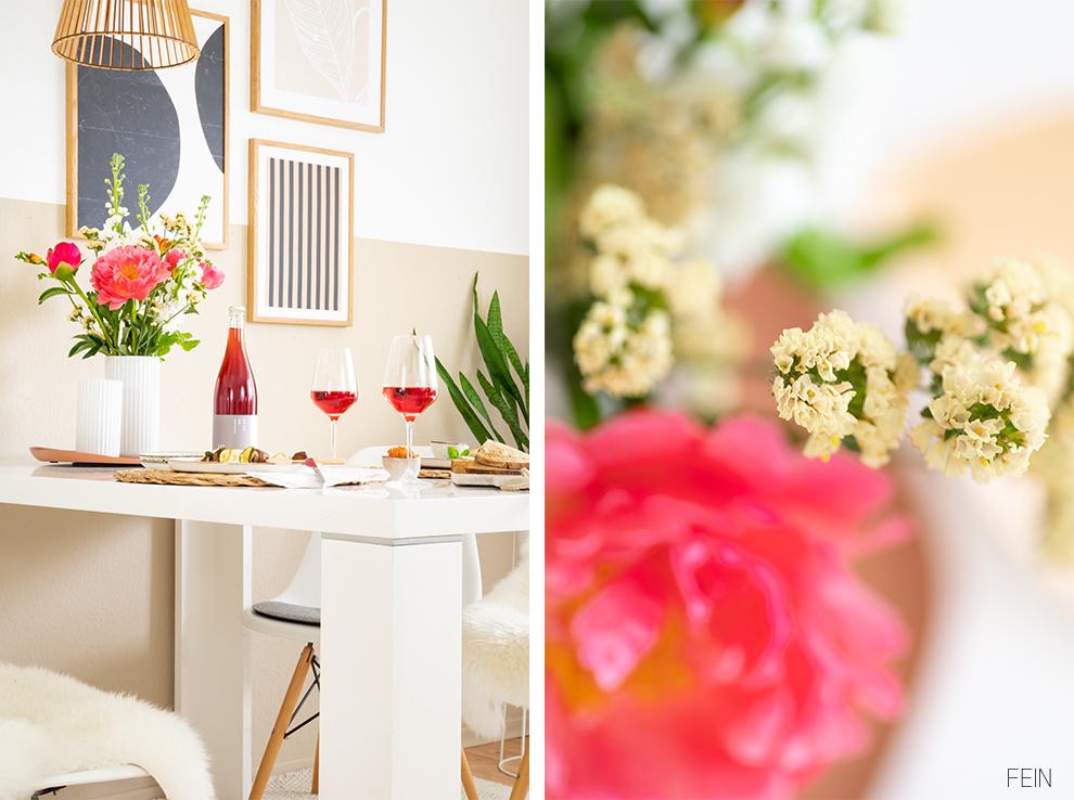 Wein Tisch Blumen